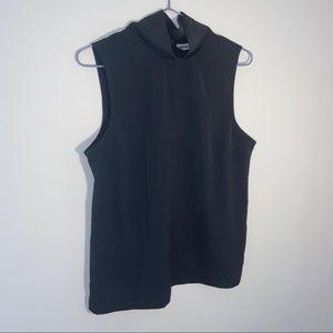 Black lightweight sleeveless turtle neck